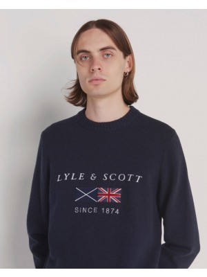Lyle & Scott KN1343V Z271 flag knitted crew neck jumper Dark Navy