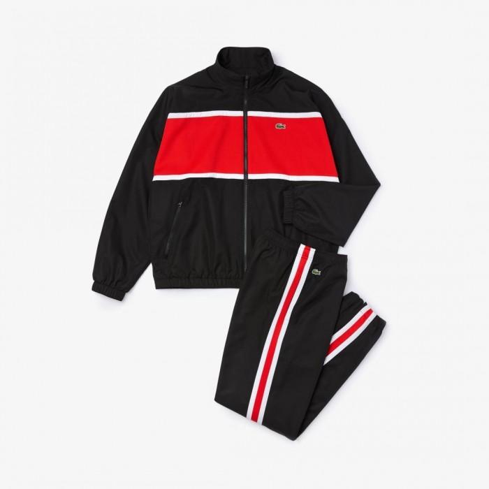 Survêtement Lacoste WH1572 TR2 Noir Rouge Blanc
