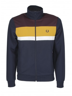 Fred Perry colour block track jacket J9543 266 carbon blue