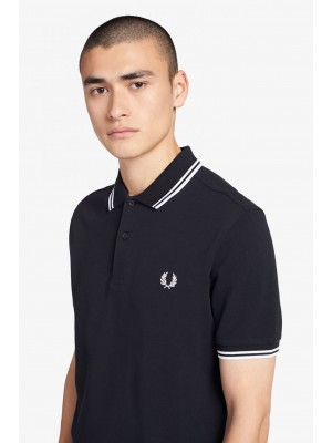 Polo Fred Perry Twin Tipped Navy White M3600 238