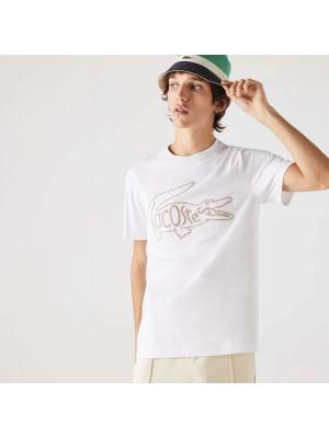 T-shirt à col rond en coton avec broderie crocodile