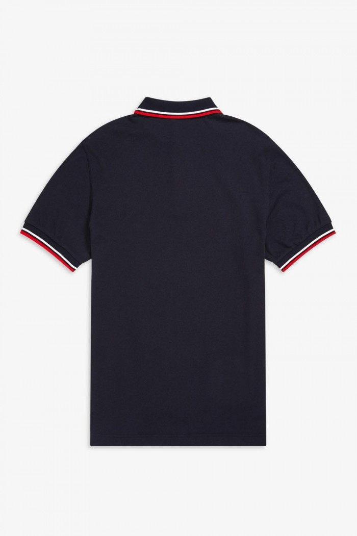 Polo Fred Perry Twin Tipped Navy White M3600 471