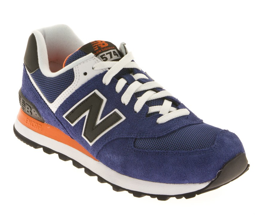 Basket New Balance ml574 moy bleu, orange et noir.