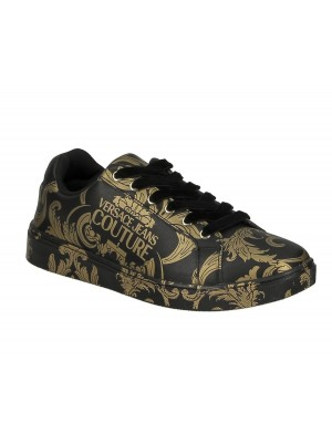 Basket Versace Jeans Couture dame E0VZBSO1 71178 M27 Black Gold Linea Fondo O.M Dis.64 Leather Print