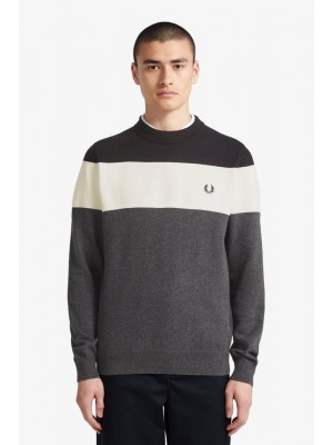 Pull Fred Perry à empiècements Charocoal Solid Marl K8502 328
