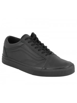 Basket dame Vans Old Skool embossed en cuir noir.