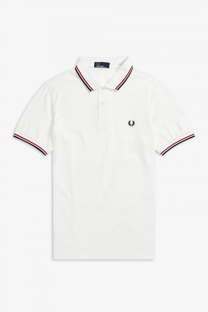 Polo Fred Perry Twin Tipped Wht Brt Red Nvy M3600 748