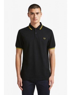 Polo Fred Perry Twin Tipped Black New Yellow M3600 506