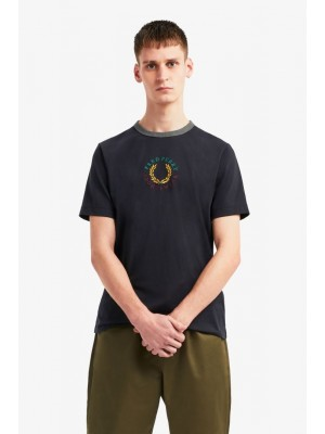 Fred Perry T-shirt Brodé M8533 608 navy