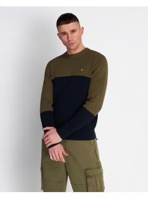 Pull Lyle & Scott KN1214V Z271 colour block knitted jumper dark navy