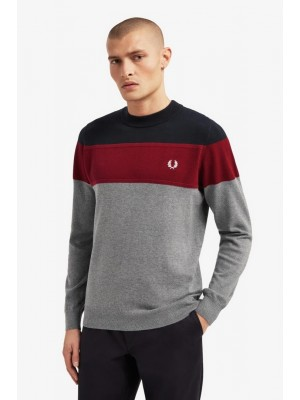 Pull Fred Perry à empiècements Steel Marl K8502 420