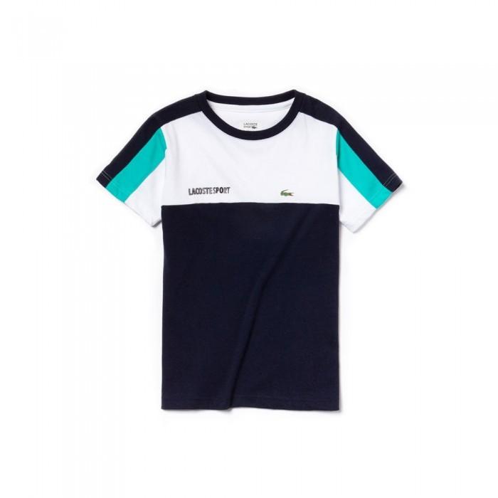 T-shirt Lacoste junior TJ1330 EL2 blanc marine papeete