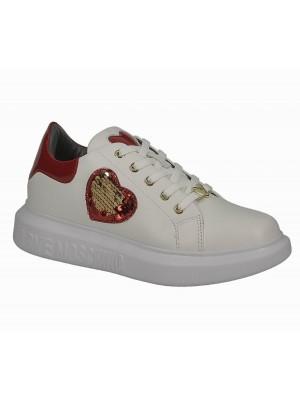 Love Moschino JA15474G0BJA410A sneaker gomma40 Vit. Bianco Vern Rosso