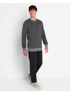 Lyle & Scott KN1353V W149 herringbone jacquard knitted jumper jet black mid grey marl