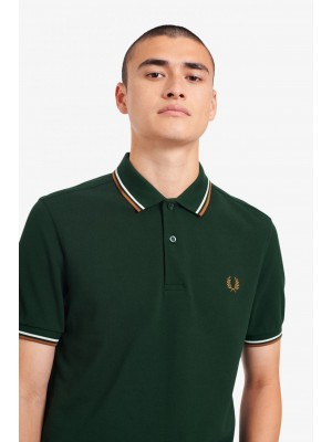Polo Fred Perry Twin Tipped Vert Blanc Caramel foncé M3600 M61