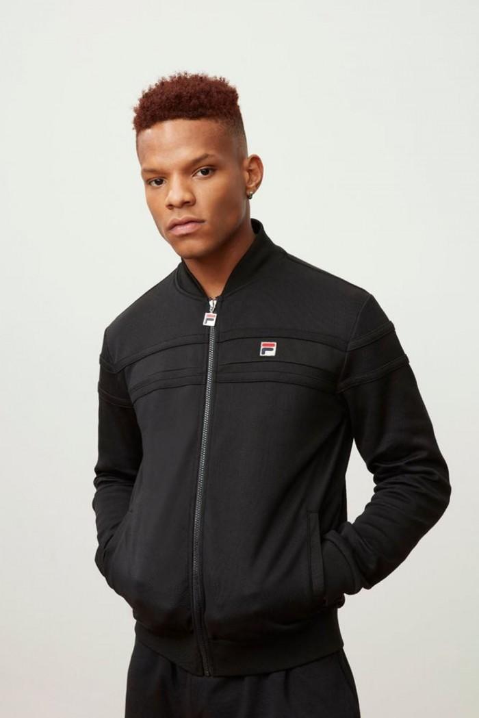 Fila Naso jacket chest stripe T top black black c red LM161RM8 001