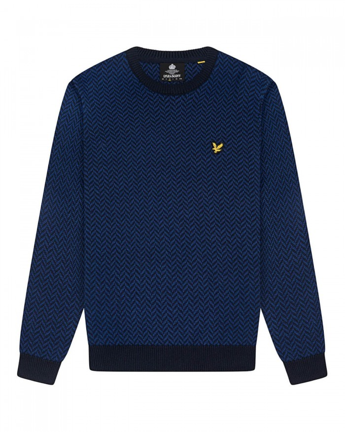 Pull Lyle & Scott KN1353V W126 herringbone jacquard knitted dark navy indigo