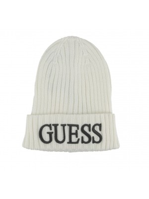 Bonnet Homme Guess Logo Brodé AM8724 WOL01 Off White