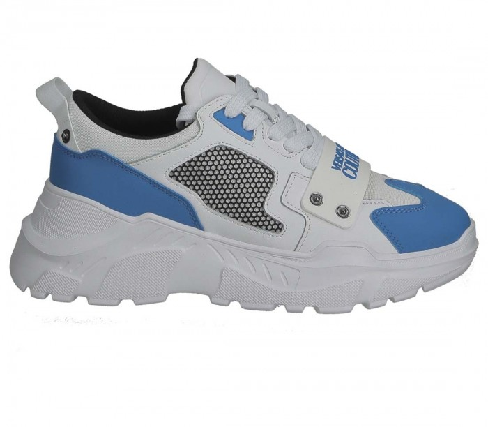 Versace Jeans Couture E0YZASC4 White Blue SpeedTrack Dis.SC4 71604 ME2 Coated Leather Nylon