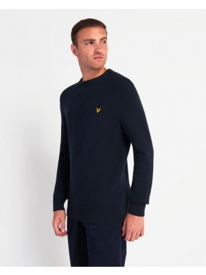 Lyle & Scott KN1359V Z271 basket weave knitted jumper dark navy