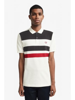 Polo Fred Perry à Bandes Snow White M8540 129