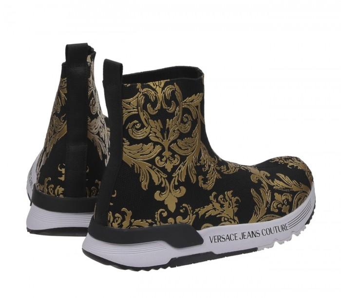 Basket Versace Jeans Couture Dame Aerodynamic Dis.4 Black Gold E0Vwasa4 71934 M27 Printed Knitted