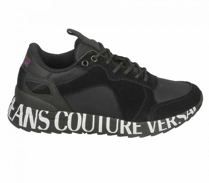 Basket dame Versace Jeans Couture Linea wave Dis. 1 Black 71269 899 Suede Plain Nylon Coated E0VUBSN1