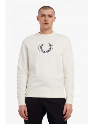 Sweatshirt Fred Perry à couronne de laurier M2646 129 Blanc