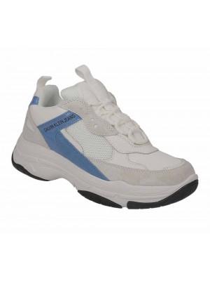 Basket dame Calvin Klein Jeans Maya Bright White Blue Aster Mesh Lycra Suede Patent B4R0449 100