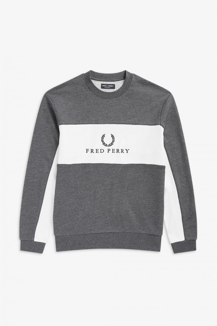 Fred Perry Panel Piped Sweatshirt Charcoal Marl M4553 948