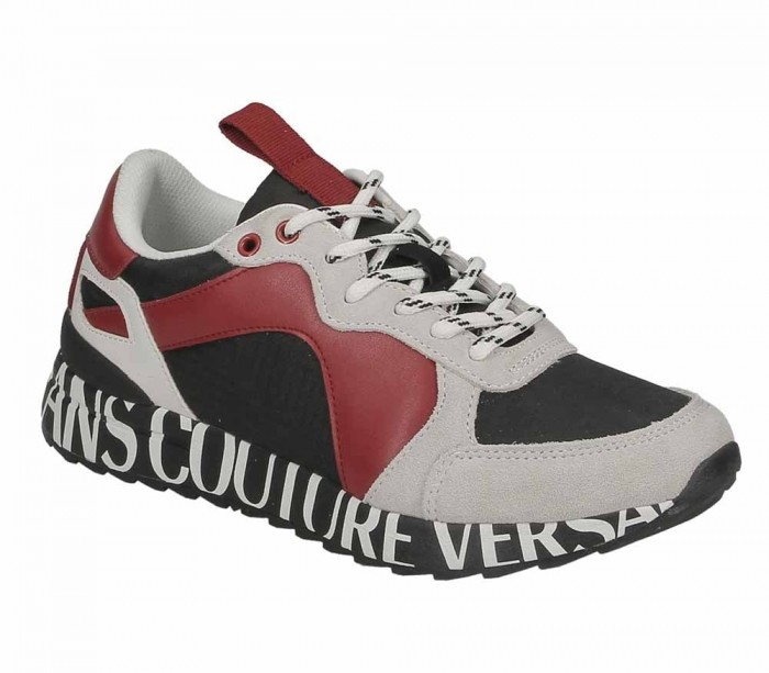 Basket Versace Jeans Couture Linea Fondo wave Dis. 1 Black Red 71316 MD7  Nylon Suede Gummy E0YUBSN1
