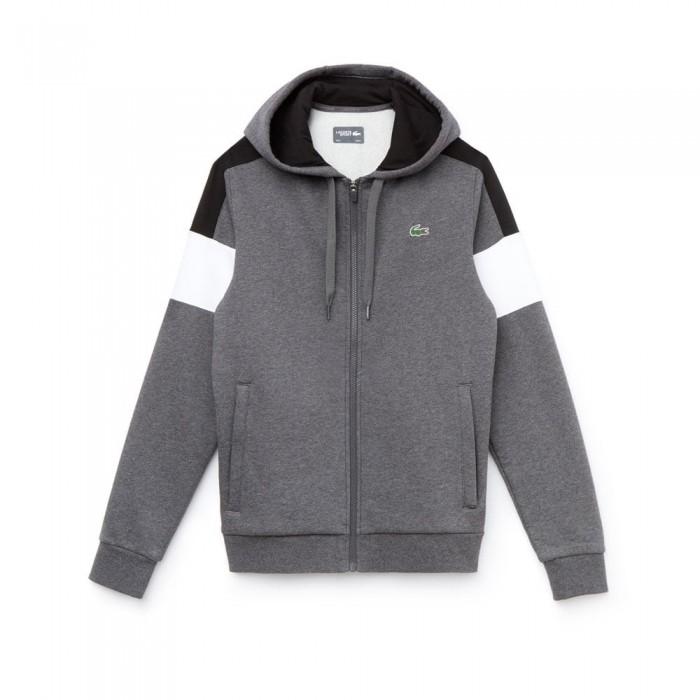 Sweatshirt zippé Lacoste Sh9492 AGG bitume noir blanc noir