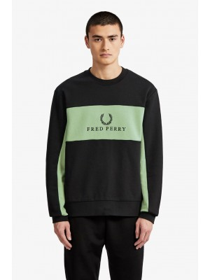Fred Perry Panel Piped Sweatshirt Black M4553 184