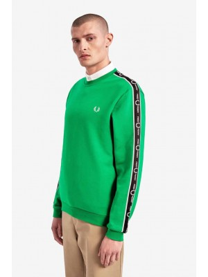 Fred Perry taped shoulder sweatshirt electric green M7538 I64