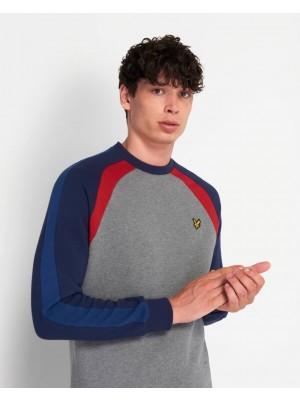 Lyle & Scott ML1355V T28 three panel sweatshirt mid grey marl