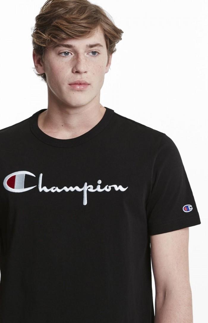 T-shirt Champion big logo Crewneck 210972 BS501 KK001 BBK noir Europe Limited Edition