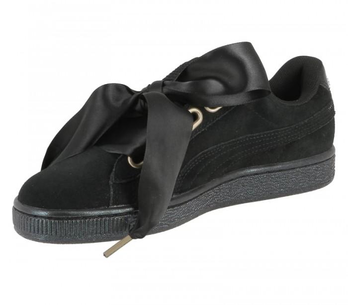 Puma Suede Heart Satin womens black black 362714 03 Basket