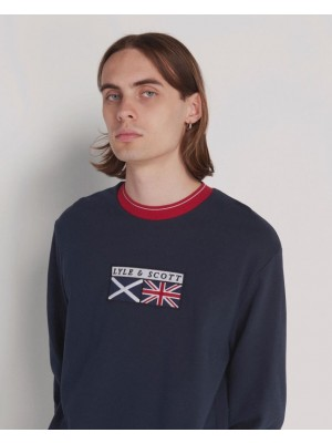Sweatshirt Lyle & Scott ML1334V flag crew neck tipped Z271 Dark Navy