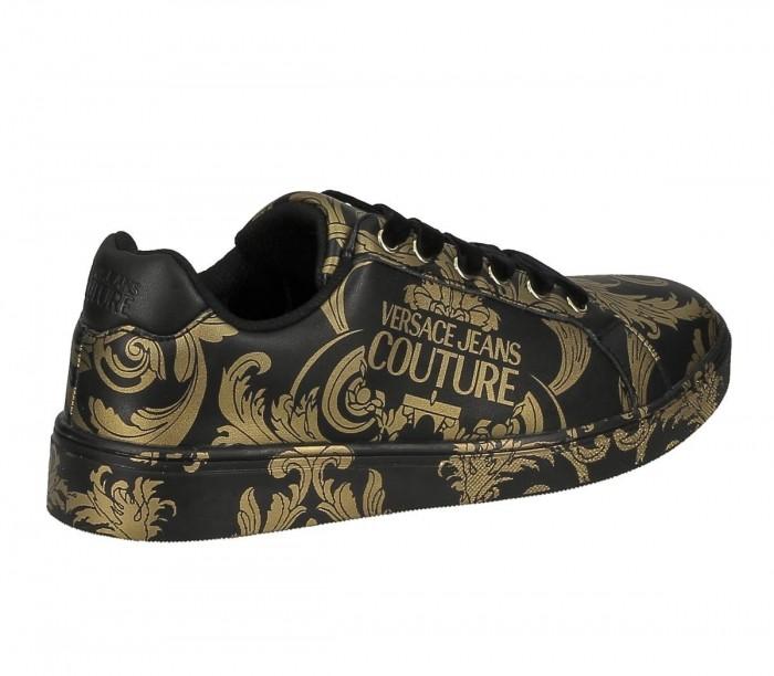 Basket Versace Jeans Couture dame E0VZBSO1 71178 M27 Black Gold Linea Fondo O.M Dis.64 Leather Print
