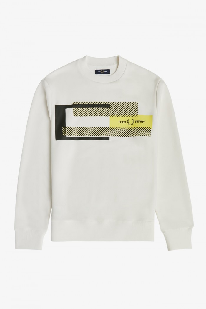 Fred Perry M1644 129 mixed graphic Sweatshirt snow white