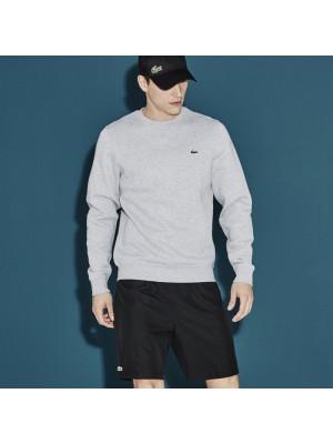 Sweatshirt col rond Lacoste uni sh7613 cca gris chiné.