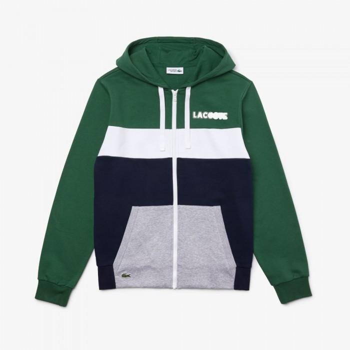 Sweatshirt Lacoste SH1506 58Q Vert Marine Argent Chiné Blanc