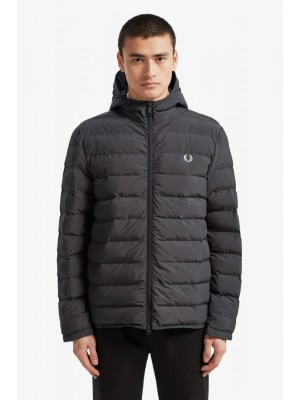 Fred Perry insulated hooded jacket black J7516 102