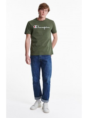 T-shirt Champion big logo Crewneck 210972 GS518 DTO Khaki Europe Limited Edition color Khaki