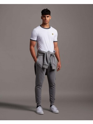 Lyle & Scott TR1483OGSP T28 Sweatpant with contrast piping mid grey marl