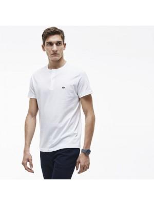 T-shirt col rond à boutons Lacoste TH3948 001 blanc.