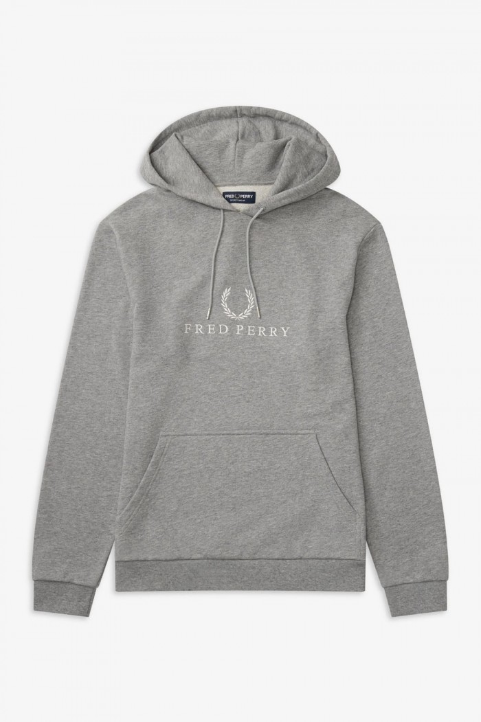 Fred Perry Embroidered Hooded Sweatshirt Steel Marl J5525 420