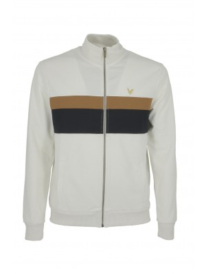 Lyle & Scott ML1341V W120 Colourblock Chest Stripe Tracktop Vanilla ice