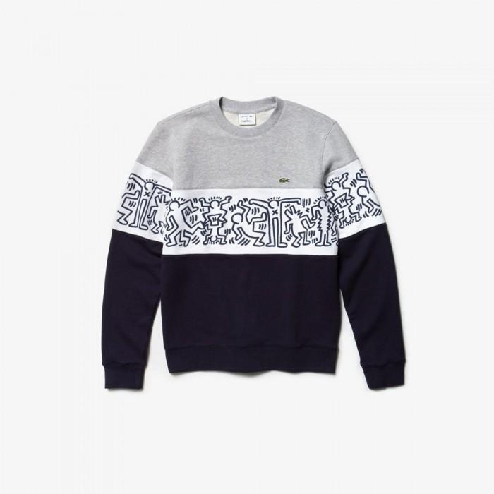 Sweatshirt Lacoste SH4370 J1T navy blue white silver Keth Haring