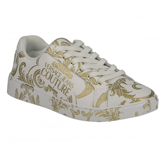 Basket Versace Jeans Couture dame E0VZBSO1 71178 MCI White Gold Linea Fondo O.M Dis.64 Leather Print
